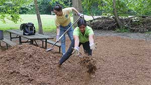 Volunteers mulching at a state park