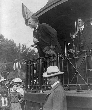 Then New York State Governor Theodore Roosevelt on wjhistle-stop tour in Western Maryland