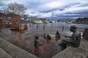 Flooding at the city dock downtown Annapolis.