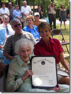 Helen Besley Overington (seated beside her daughter Peggy Weller) received a citation from Maryland State Governor Martin O'Malley to mark her life's accomplishments on the occasion of her 100th birthday.