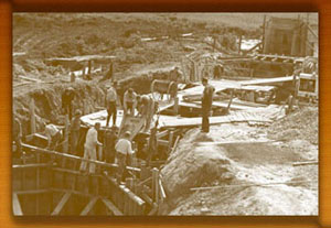 CCC boys constructing earthern dam to form lake at Herrington Manor, 1934
