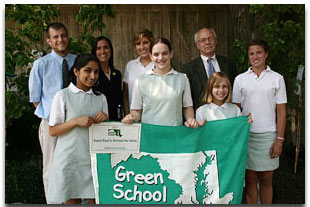 Students receiving their Green School Award