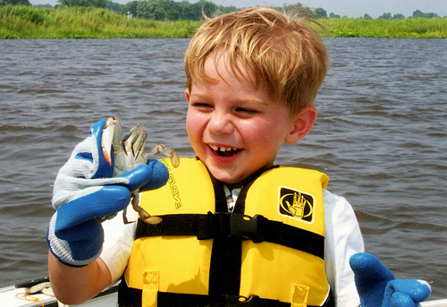 A boy on a boat holding a blue crab and smiling.