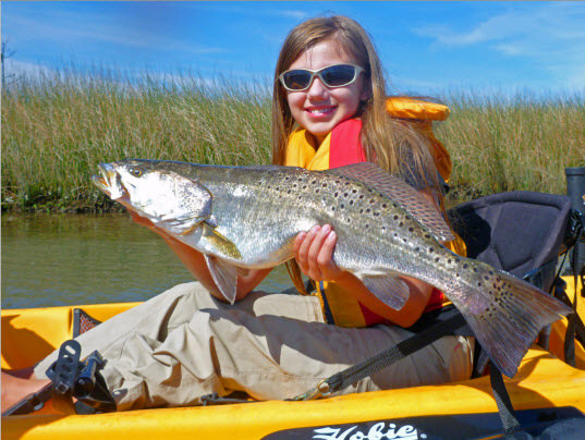 Spotted Seatrout in Kayak
