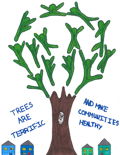 Poster from the 2018 winner of the contest. A tree in the middle with the leaves that look like dancing people.