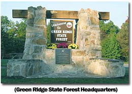 A photo of the entrance sign at Green Ridge