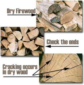 [Photos showing ways to tell if firewood is ready for use]