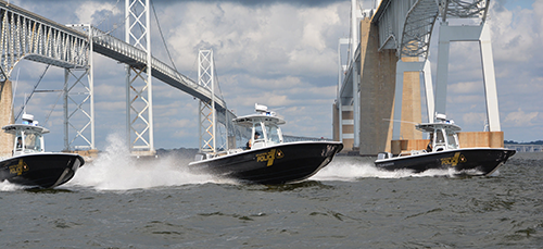 Three Natural Resources Police patrol boats