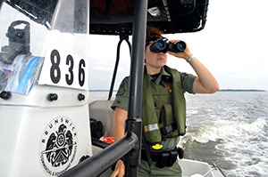 NRP Officer on patrol vessel