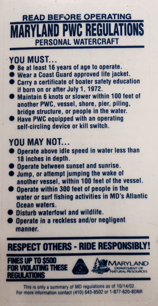Maryland Personal Water Craft Regulations Sticker