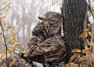 Hunter in a tree stand.