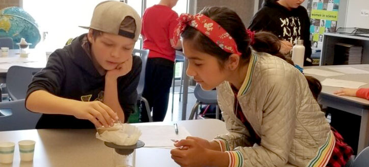 Kids in a science lab working on an experiment