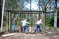Nature Place Space - Children playing on Rickety Old Bridge