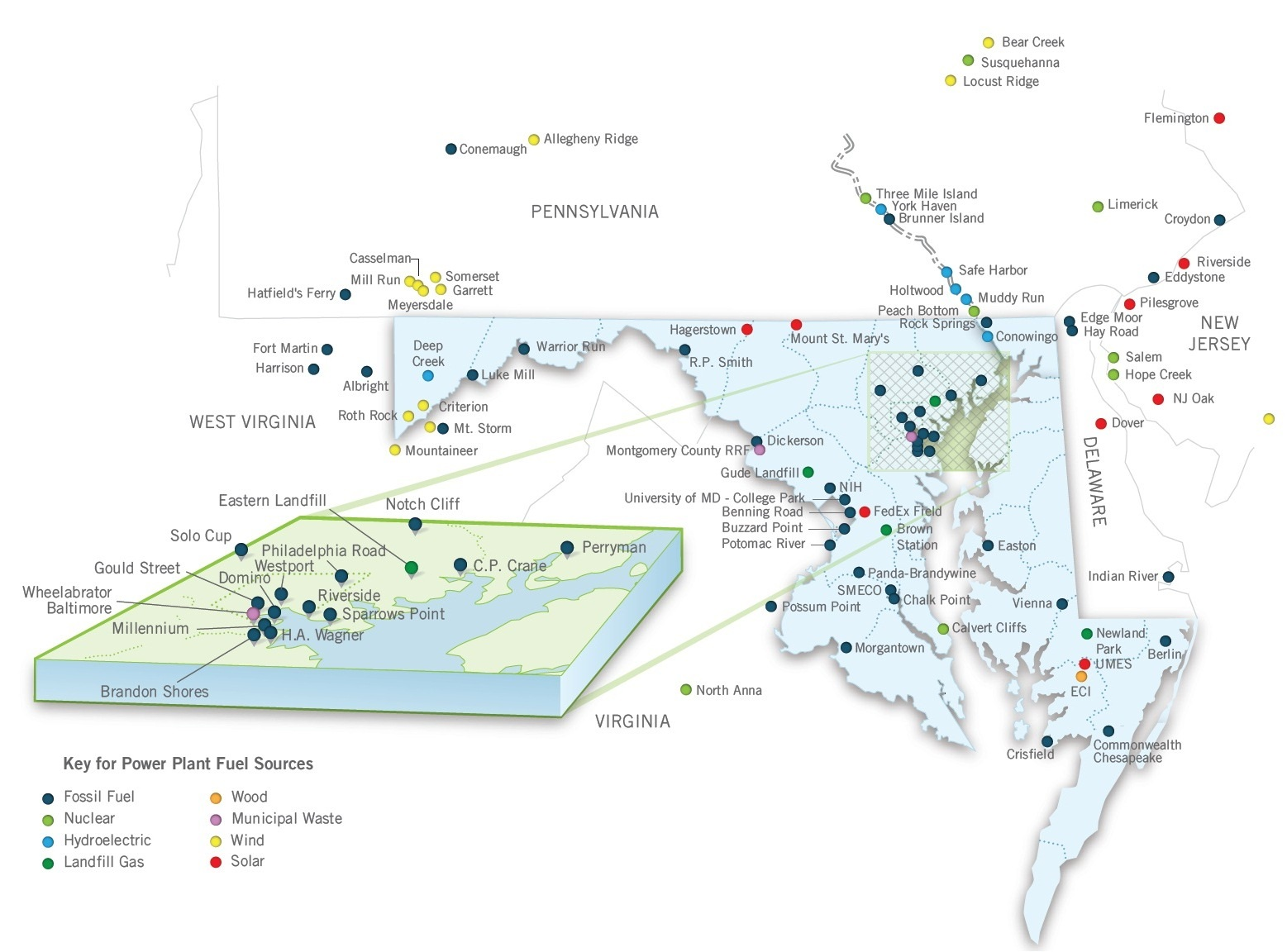 Clickable Map of powerplants in Maryland.