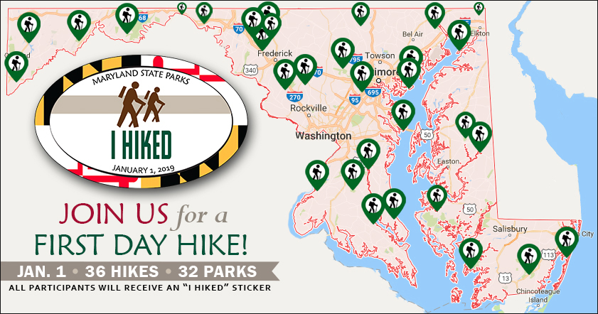 Map of First Day Hike locations