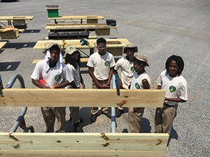 Maryland Conservation Corps Corps members building picnic tables