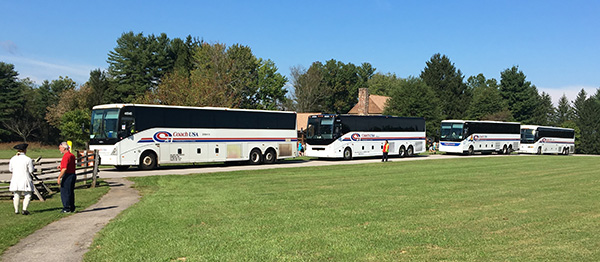 Buses lined up at Fort Frederick State Park