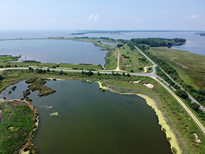 Drone view of Hart-Miller Island State Park, photo by Stephen Badger