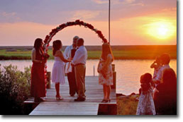 janes island state park wedding at sunset