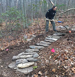 MCC Crew Member working on Patapsco Valley State Park trail