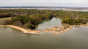 Aerial View of Newtowne Neck State Park. Photo by Mark Odell