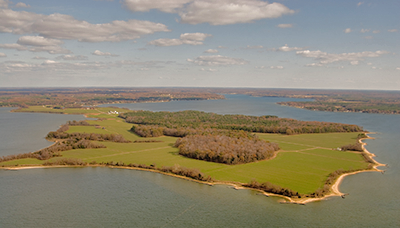 Aerial view of Newtowne Neck State Park - Photo by Mark Odell
