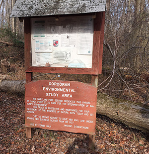 Corcoran Woods Environmental Study Area Sign