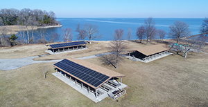 Picnic pavilions at Sandy Point State Park