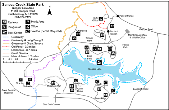 Map of Seneca Creek State Park.