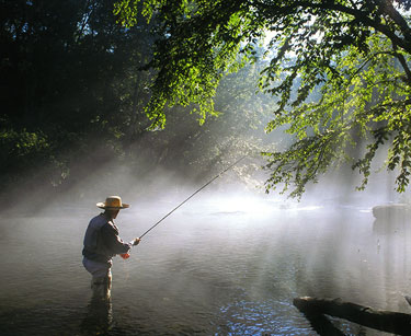 Man fishing in early morning sun