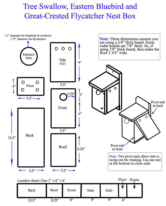 Bluebird Nest Box Plan