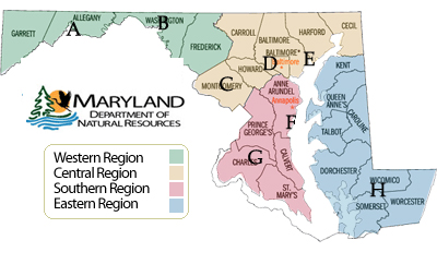 Maryland map showing locations to pick up Wildlife Education Trunks