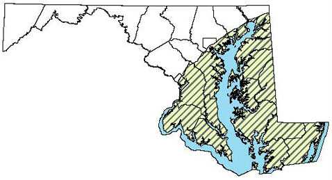 Maryland Distribution Map for Southern Leopard Frog