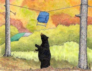 Color Illustration of backpack suspended on rope between two trees, with black bear standing on two legs and obviously unable to