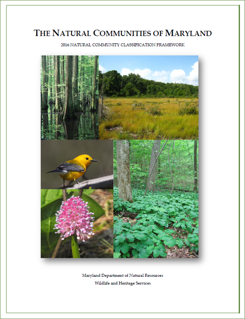 Cover of The Natural Communitites of Maryland 2016 Natural Community Classification Framework