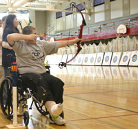 Wisconsin State Tournament - student archer in wheelchair, courtesy of Jon Gauthier