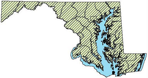 Maryland Distribution Map for Eastern Musk Turtle